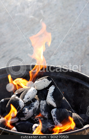Barbecue stock photo, A grill with charcoal and flames by Lasse Kristensen@gmail.com