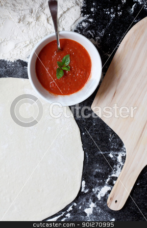 Pizza ingredients stock photo, Pizza ingredients on a counter top by Lasse Kristensen@gmail.com