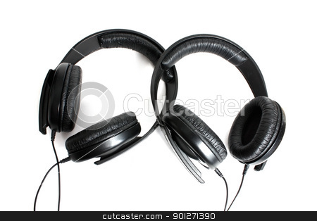 Headphones stock photo, Two headphones isolated on a white background by Lasse Kristensen@gmail.com
