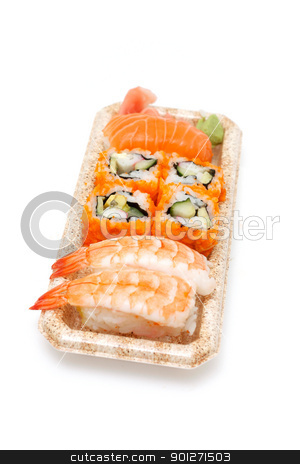 Sushi stock photo, Different kinds of sushi on a box by Lasse Kristensen@gmail.com