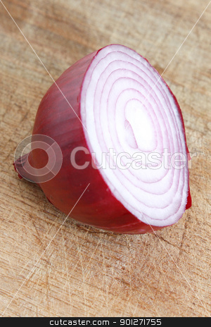 Sliced stock photo, A sliced red onion on a wooden background by Lasse Kristensen@gmail.com