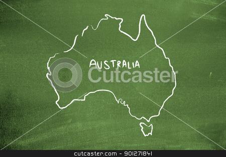 Australia stock photo, Australia on a blackboard by Lasse Kristensen@gmail.com