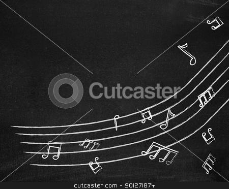 Music notes on blackboard stock photo, Music notes on blackboard by Lasse Kristensen@gmail.com