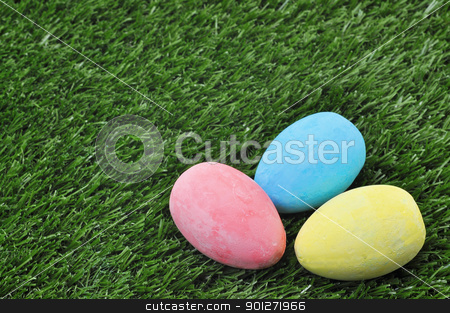 Easter Eggs on Grass stock photo, Three Easter eggs on grass with copy space. by Danny Hooks
