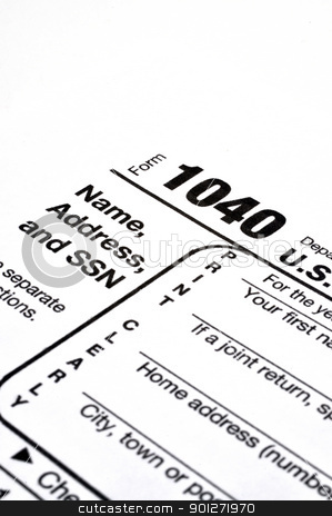 Form 1040 with Pen and Coffee stock photo, Closeup of IRS form 1040 on white background with ink pen and coffee. by Danny Hooks