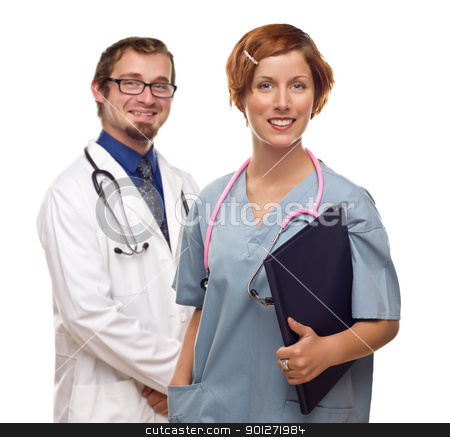 Two Doctors or Nurses on a White Background stock photo, Two Doctors or Nurses Isolated on a White Background. by Andy Dean