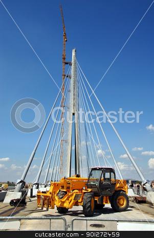 Bridge building stock photo, concrete column of new bridge on construction site in Belgrade by Julija Sapic
