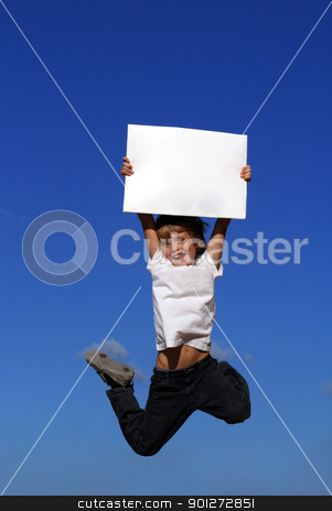 kid holding blank white board or sign stock photo, kid holding blank white board or sign by mandygodbehear