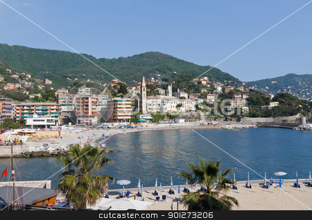 seaside in Recco, Italy stock photo, promenade and seaside in Recco, small town in Liguria, Italy by ANTONIO SCARPI