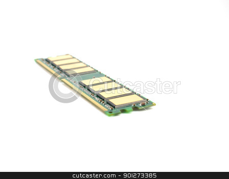 Single memory card (RAM) stock photo, Single memory card (RAM) over white by Sergei Devyatkin