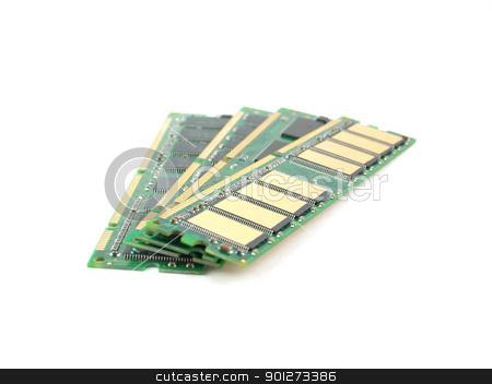 Memory cards (RAM) over white stock photo, Memory cards (RAM) over white. Shallow DOF. by Sergei Devyatkin