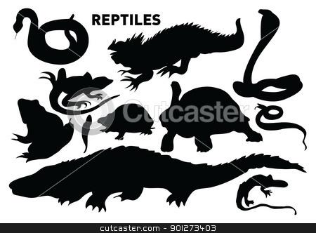 reptiles stock vector clipart, vector set of various reptiles by Emir Simsek
