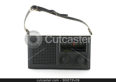 Black pocket radio stock photo, Black pocket radio over white by Sergei Devyatkin