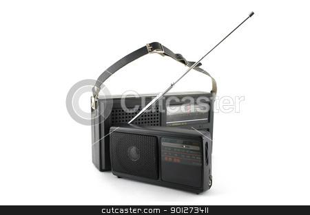 Two pocket radio stock photo, Two old pocket radio over white by Sergei Devyatkin