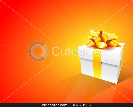 Gift Box Background stock vector clipart, Orange background with white gift box and gold bow by TheModernCanvas