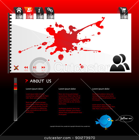 Website design with splatter stock vector clipart, Website design with splatter and red and black theme by TheModernCanvas