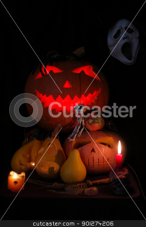 Halloween pumpkin stock photo, Spooky Halloween pumpkin by johnnychaos