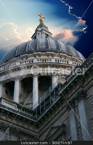 St Paul's Cathedral in London stock photo, English landmark St Paul's Cathedral in London by johnnychaos