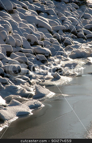 Winter stock photo, Rocks are covered with ice and snow by Lars Christensen
