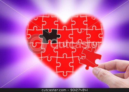Fill the gap of heart. stock photo, Fill the gap of heart. concept of love. by Lawren