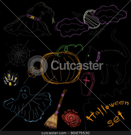 Halloween Icons stock vector clipart, Halloween Icons A collection of fun Halloween icons. Scetch drawing. Vector illustration  by Mykhaylo Kushch