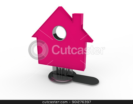 3d home key house  stock photo, 3d home key house home pink security by d3images