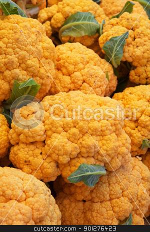 Orange Cauliflower stock photo, Pile of bright Orange Cauliflower at the farmers market by bobkeenan