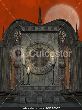 spooky altar stock photo, 3d render of a spooky altar by ancello