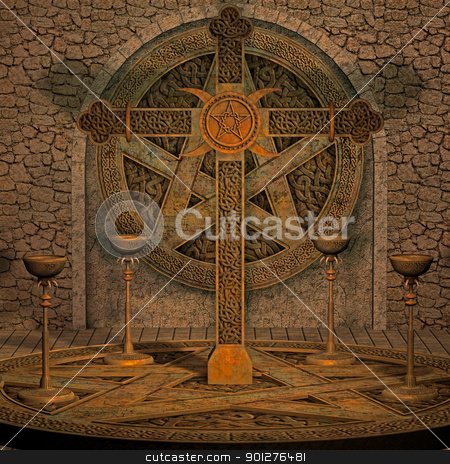 spooky altar stock photo, 3d render of a spooky scene by ancello