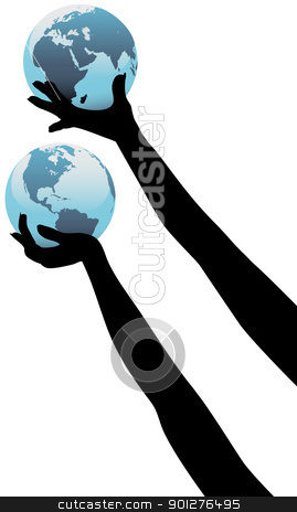 Earth person hands hold up global world stock vector clipart, Earth people hands holding up planet Eastern and Western Hemispheres by Michael Brown