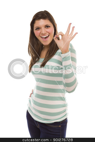 Smiling Ethnic Female with Okay Hand Sign on White stock photo, Pretty Smiling Ethnic Female with Okay Hand Sign Isolated on a White Background. by Andy Dean