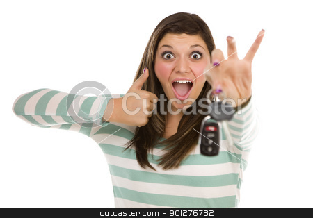Ethnic Female with Car Keys and Thumbs Up on White stock photo, Pretty Ethnic Female with New Car Keys and Thumbs Up Isolated on a White Background. by Andy Dean