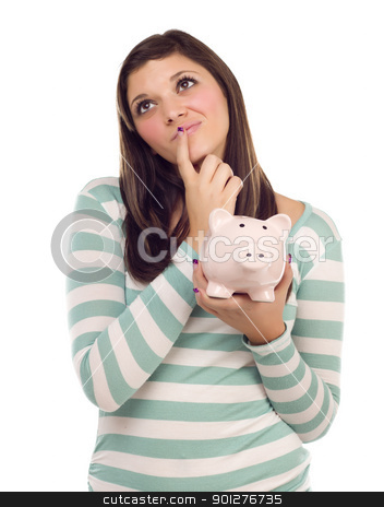 Ethnic Female Daydreaming and Holding Piggy Bank on White stock photo, Pretty Ethnic Female Daydreaming and Holding Pink Piggy Bank Isolated on a White Background. by Andy Dean