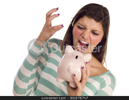 Ethnic Female Yelling At Piggy Bank on White stock photo, Angry Ethnic Female Yelling At Her Piggy Bank Isolated on a White Background. by Andy Dean