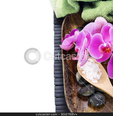 SPA setting stock photo, spa concept (zen stones, sea salt, towel and orchid) over white with copyspace by klenova