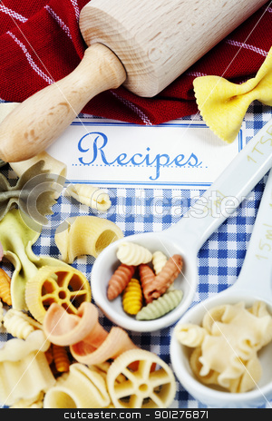 Composition of pasta stock photo, The book of recipes and italian pasta by klenova