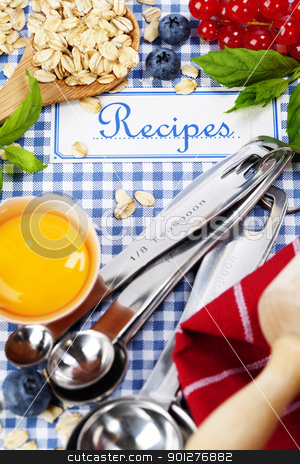 The book of recipes stock photo, The book of recipes and fresh ingredients for cooking by klenova