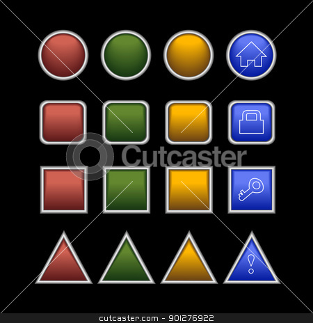 buttons on black stock vector clipart, web plastic buttons on black background by artizarus