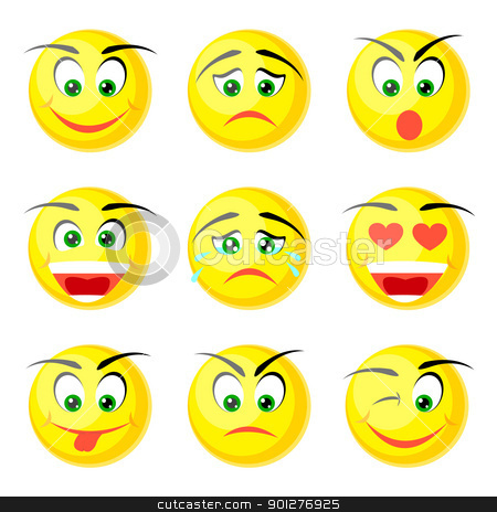 yellow smile icons stock vector clipart, set of yellow smile icons isolated on white background by artizarus