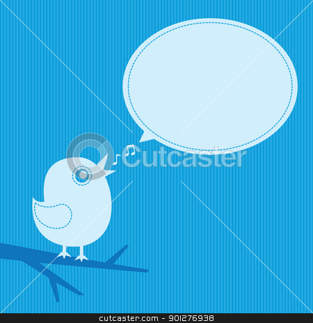 singing bird stock vector clipart, singing bird with speech cloud on a blue background by artizarus