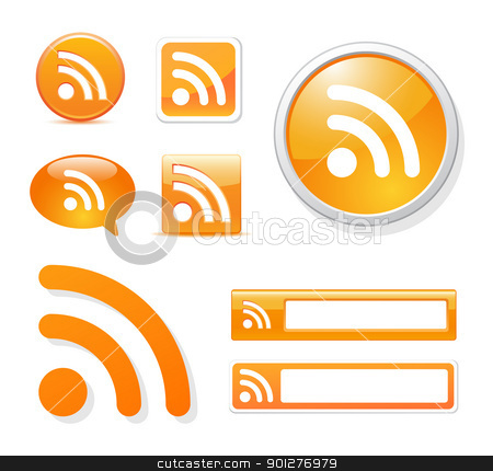 rss icon set stock vector clipart, rss icons in different styles on white by artizarus
