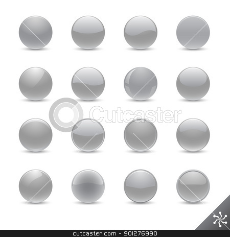silver buttons stock vector clipart, Round silver buttons in various style for your design. All elements are separate. File is layered by artizarus
