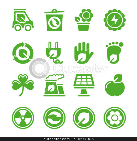 Green environmental icons stock vector clipart, Green environmental icons for your design by artizarus