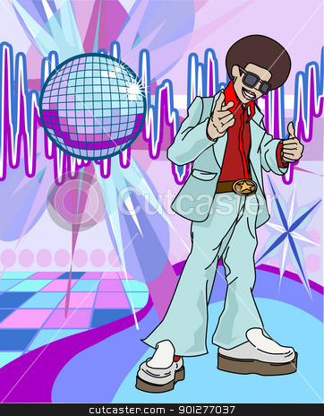 Image of disco man stock vector clipart, a 70s funky guy giving a thumb up by Christos Georghiou