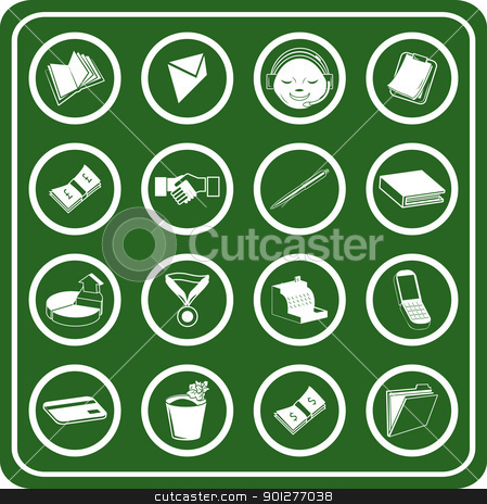 Business icons set stock vector clipart, a set of Business and office icons.  by Christos Georghiou