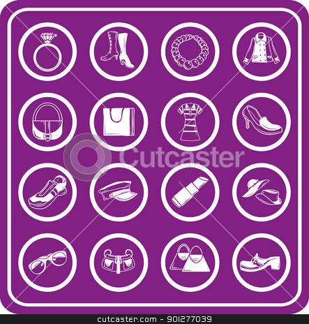 Fashion icon set stock vector clipart, fashion, clothes and accessory icons  by Christos Georghiou