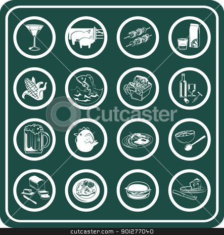 A set of food and drink icons stock vector clipart, A set of food and drink icons by Christos Georghiou