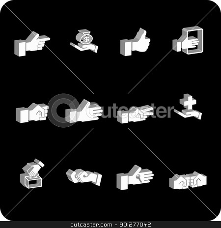 hands icon set stock vector clipart, A hand elements icon series set.  by Christos Georghiou