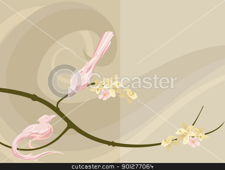 dove background stock vector clipart, illustration of doves in a tree by Christos Georghiou