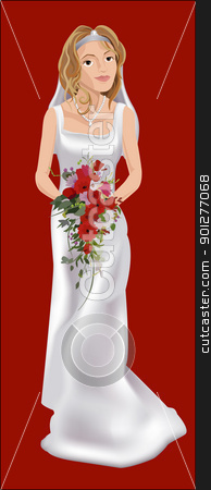 bride stock vector clipart, a bride on her wedding day  by Christos Georghiou